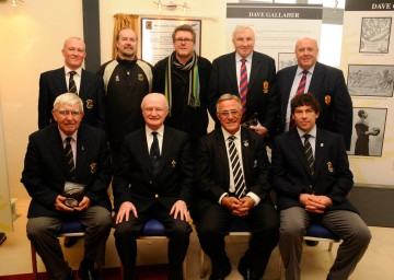 Opening of the new clubrooms at Dave Gallaher Park, Letterkenny, Co. Donegal, Nov. 5, 2012. President of NZRU, B.G. Williams and President of IRFU, Billy Glynn, front centre. Members of Ulster RFU and Letterkenny RFC (Robbie Love, back left; Marty Moylan, front left; Jeremy Worth, front right). I don't own a blazer...(Photo courtesy of Jon Smeaton, Ramelton.)