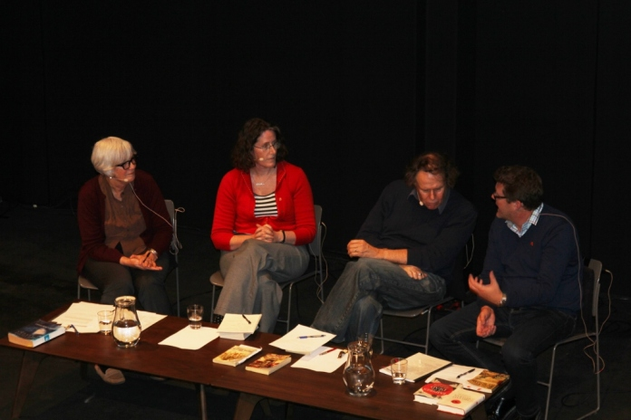 WW1 Book Club. NZ Book Council event, Wellington, Oct. 2014. Jane Stafford, Kate Camp, Harry Ricketts, me.